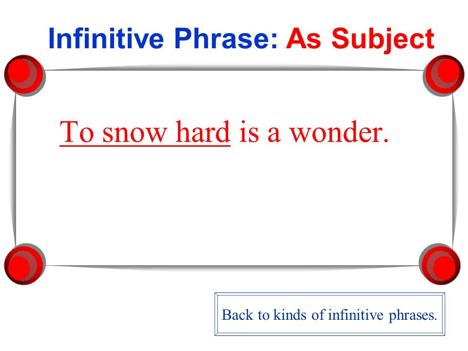Infinitive Phrase: As Subject To snow hard is a wonder. Back to kinds of infinitive phrases.