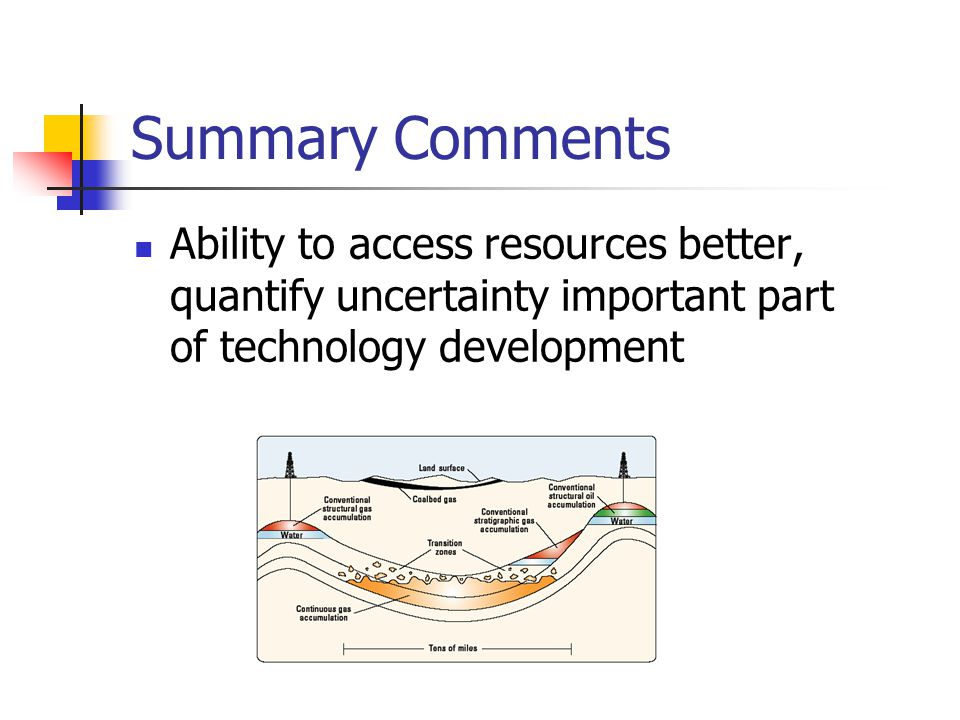 Summary Comments Ability to access resources better, quantify uncertainty important part of technology development