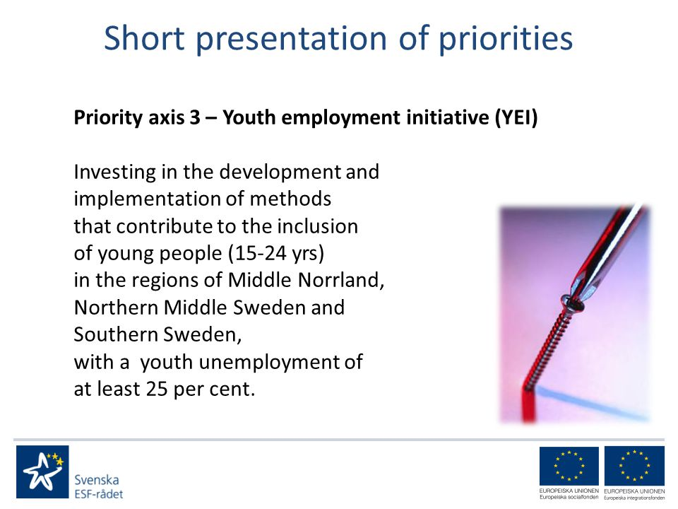 Short presentation of priorities Priority axis 3 – Youth employment initiative (YEI) Investing in the development and implementation of methods that contribute to the inclusion of young people (15-24 yrs) in the regions of Middle Norrland, Northern Middle Sweden and Southern Sweden, with a youth unemployment of at least 25 per cent.