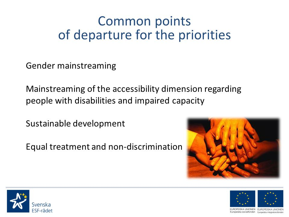 Common points of departure for the priorities Gender mainstreaming Mainstreaming of the accessibility dimension regarding people with disabilities and impaired capacity Sustainable development Equal treatment and non-discrimination