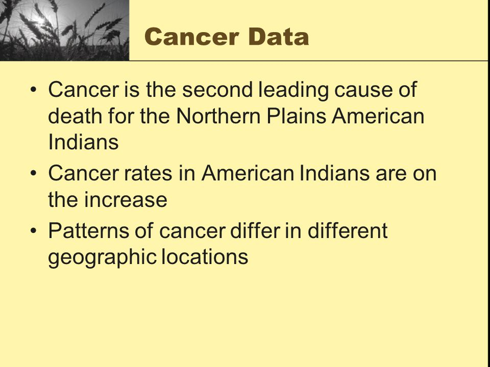 Cancer Data Cancer is the second leading cause of death for the Northern Plains American Indians Cancer rates in American Indians are on the increase Patterns of cancer differ in different geographic locations
