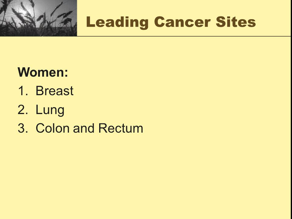 Leading Cancer Sites Women: 1. Breast 2. Lung 3. Colon and Rectum