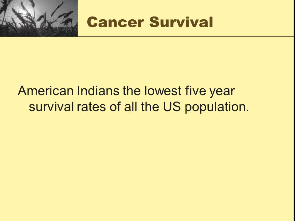 Cancer Survival American Indians the lowest five year survival rates of all the US population.