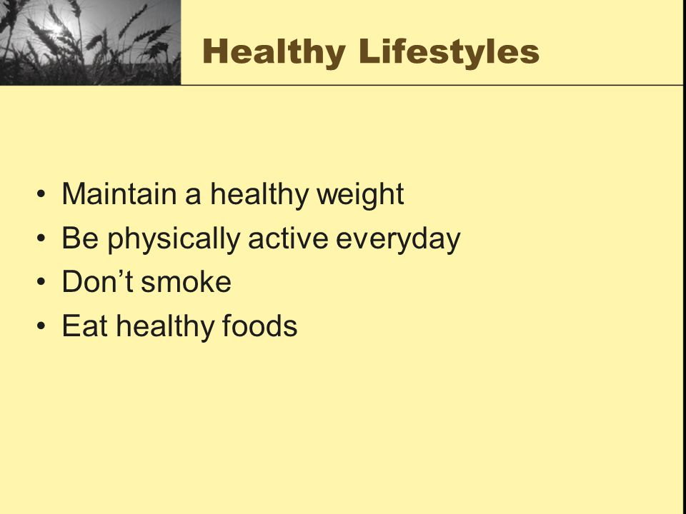 Healthy Lifestyles Maintain a healthy weight Be physically active everyday Don't smoke Eat healthy foods