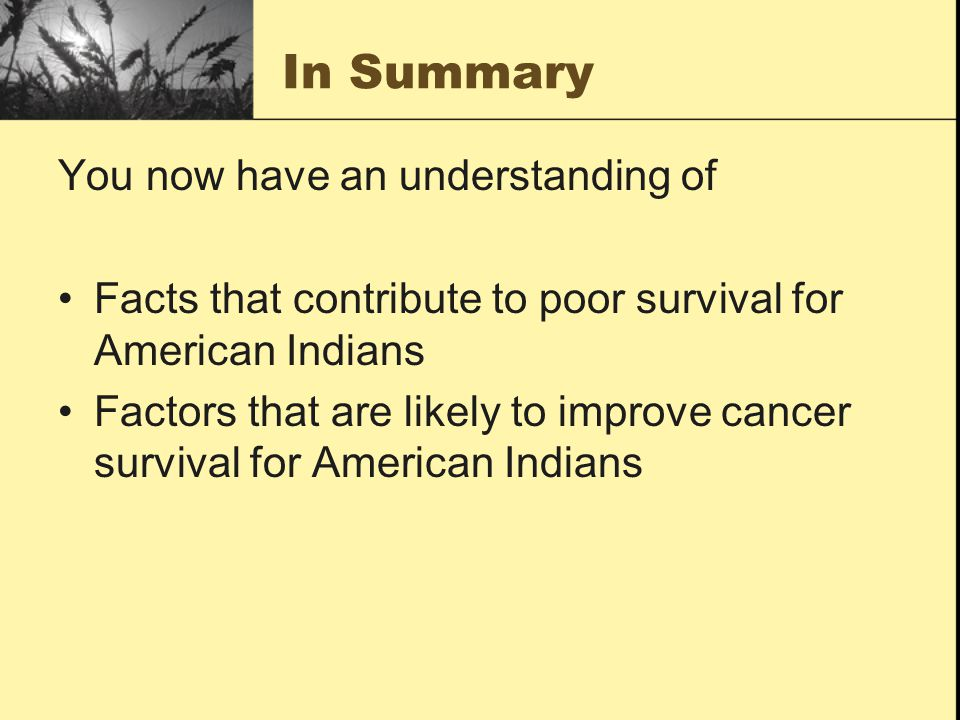 In Summary You now have an understanding of Facts that contribute to poor survival for American Indians Factors that are likely to improve cancer survival for American Indians