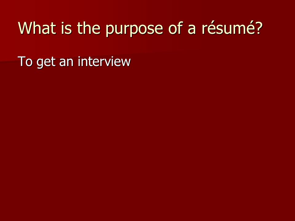 purpose of an interview The basic purpose of job interviews are to first provide you with valuable insight into a candidate's credentials and core values, and second, to allow the candidate to determine if their career.