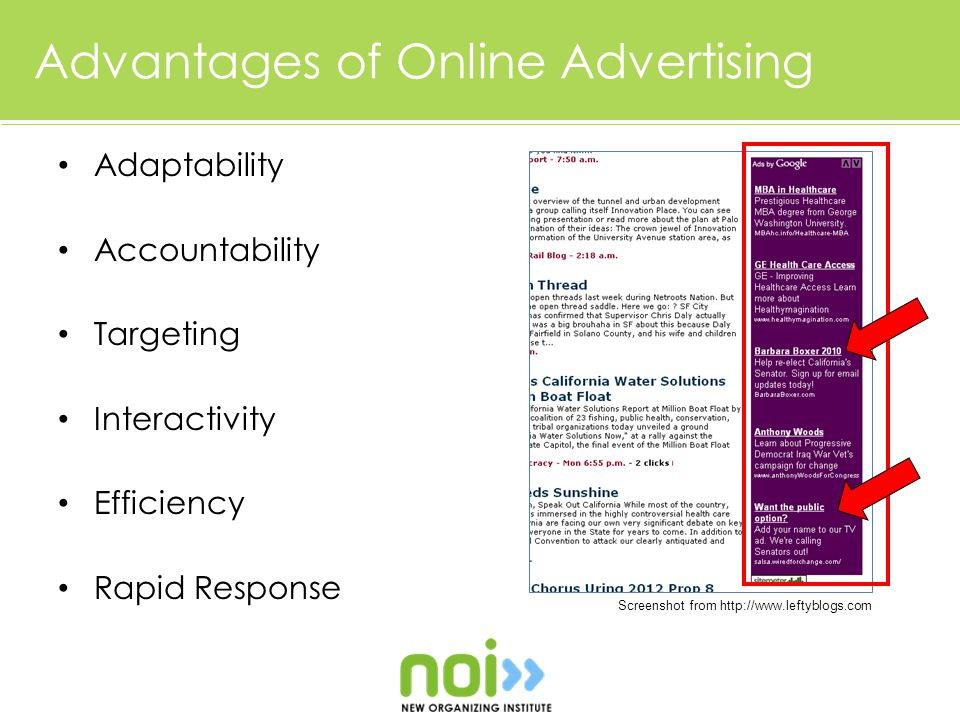 Advantages of Online Advertising Adaptability Accountability Targeting Interactivity Efficiency Rapid Response Screenshot from