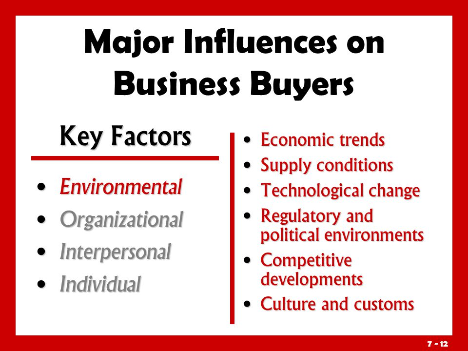 Major Influences on Business Buyers Environmental Environmental Organizational Organizational Interpersonal Interpersonal Individual Individual Economic trends Supply conditions Technological change Regulatory and political environments Competitive developments Culture and customs Key Factors