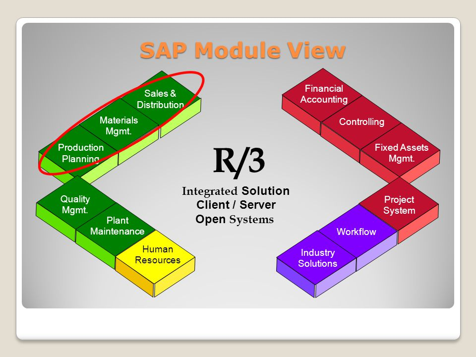 R/3 SAP Module View Integrated Solution Client / Server Open Systems Financial Accounting Controlling Fixed Assets Mgmt.