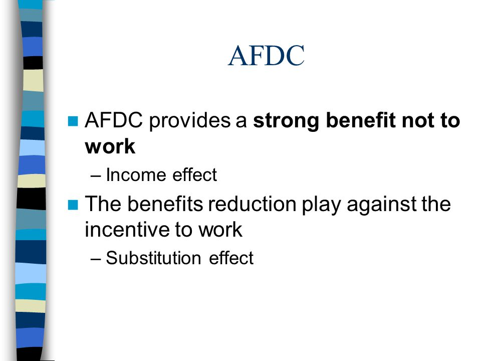 AFDC AFDC provides a strong benefit not to work –Income effect The benefits reduction play against the incentive to work –Substitution effect