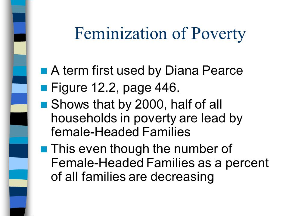 Feminization of Poverty A term first used by Diana Pearce Figure 12.2, page 446.