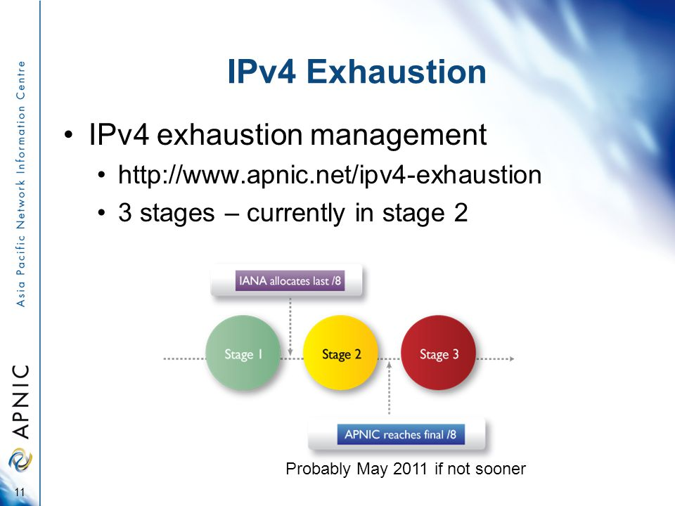 IPv4 Exhaustion IPv4 exhaustion management   3 stages – currently in stage 2 Probably May 2011 if not sooner 11