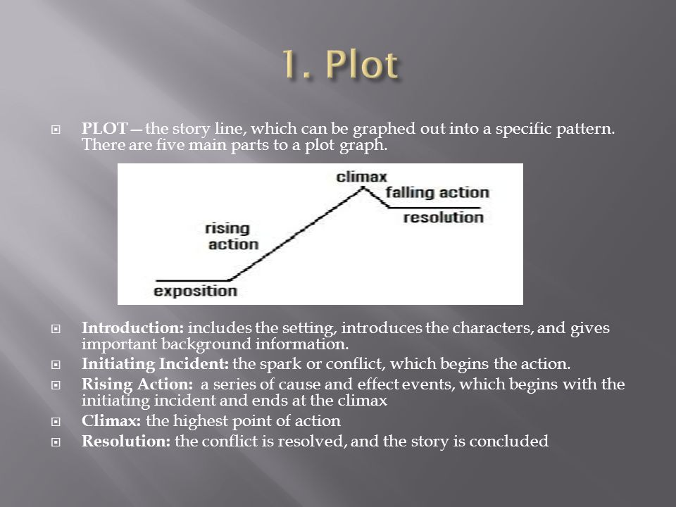  PLOT— the story line, which can be graphed out into a specific pattern.