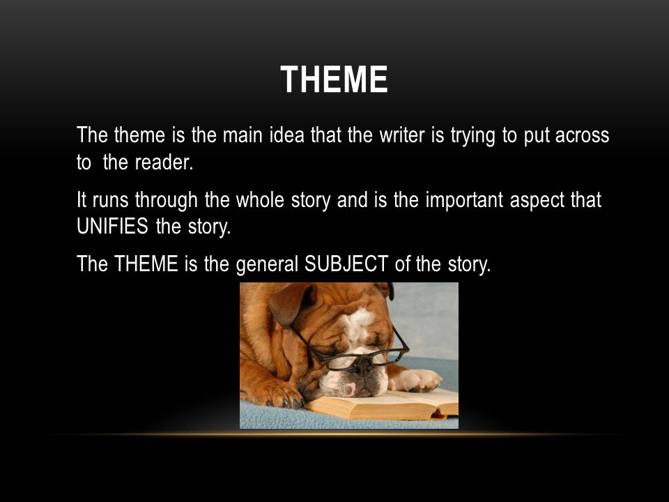 THEME The theme is the main idea that the writer is trying to put across to the reader.