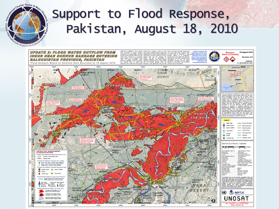 International Charter 'Space and Major Disasters Support to Flood Response, Pakistan, August 18, 2010