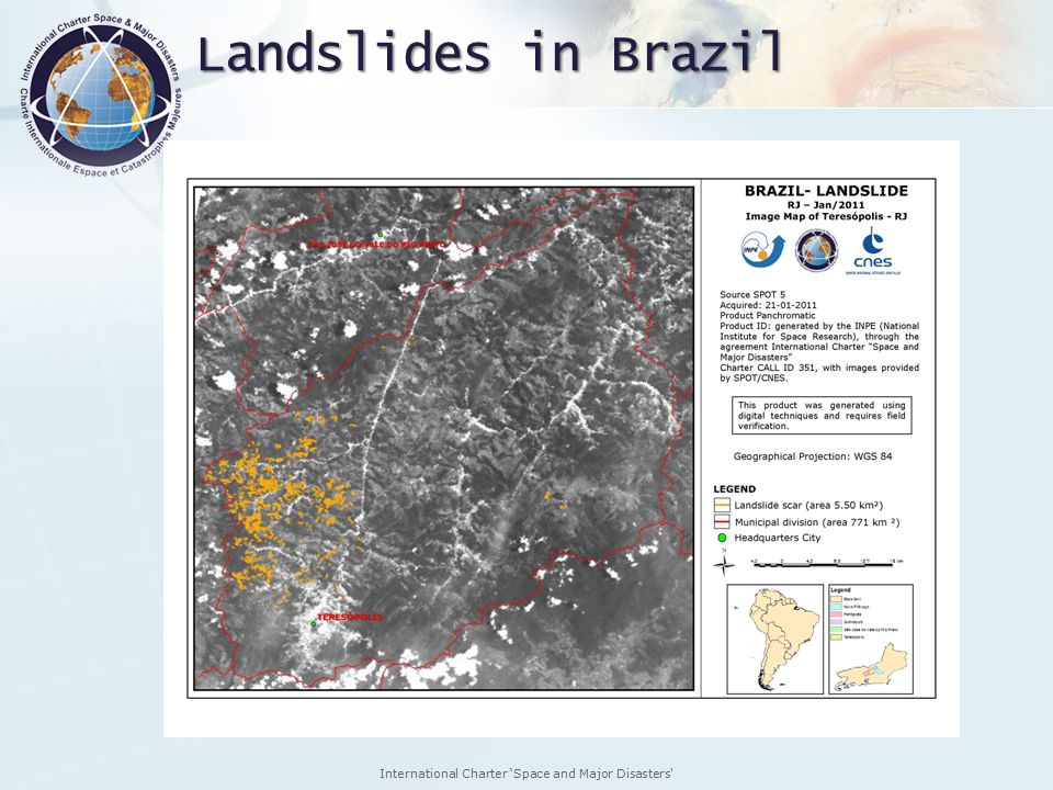 International Charter 'Space and Major Disasters Landslides in Brazil