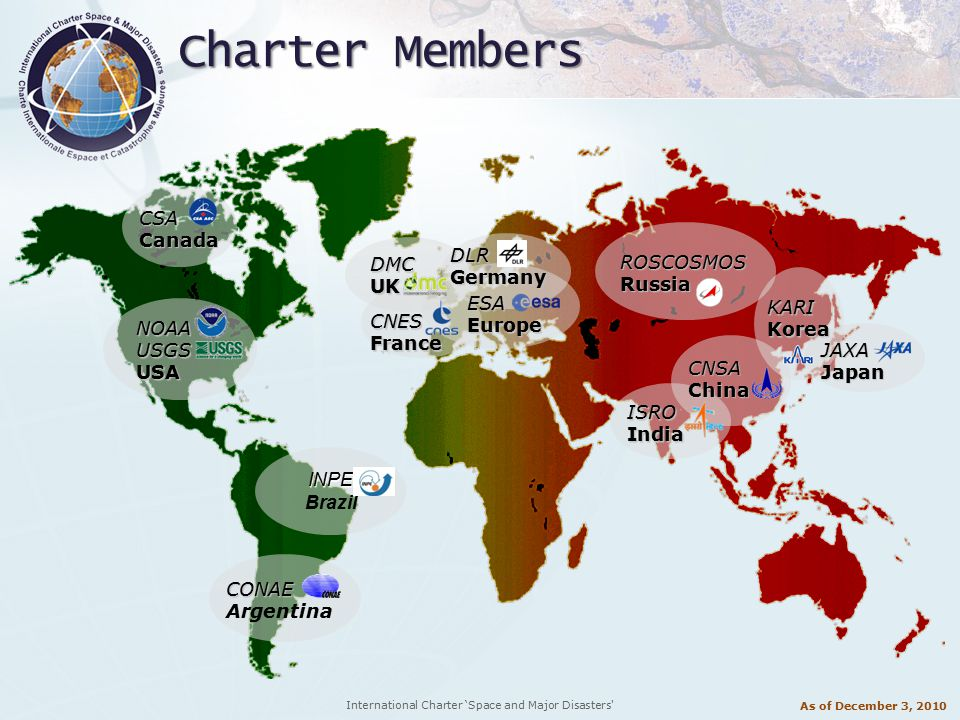International Charter 'Space and Major Disasters Charter Members CSA Canada NOAAUSGSUSA CONAE Argentina CNES France ESA Europe ISROIndia JAXAJapan CNSAChina KARIKorea ROSCOSMOSRussia INPE Brazil DMCUK DLRGermany As of December 3, 2010