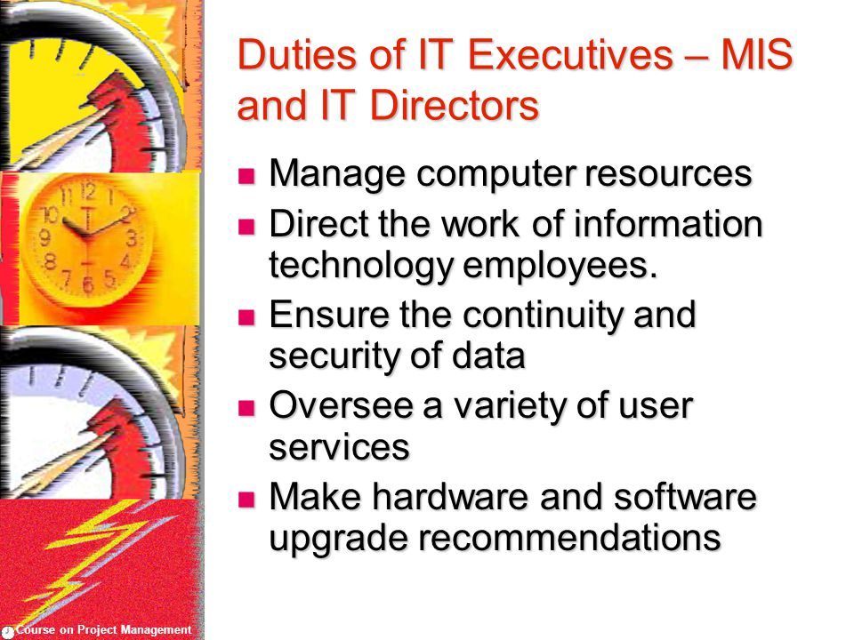 Course on Project Management Duties of IT Executives – MIS and IT Directors Manage computer resources Manage computer resources Direct the work of information technology employees.