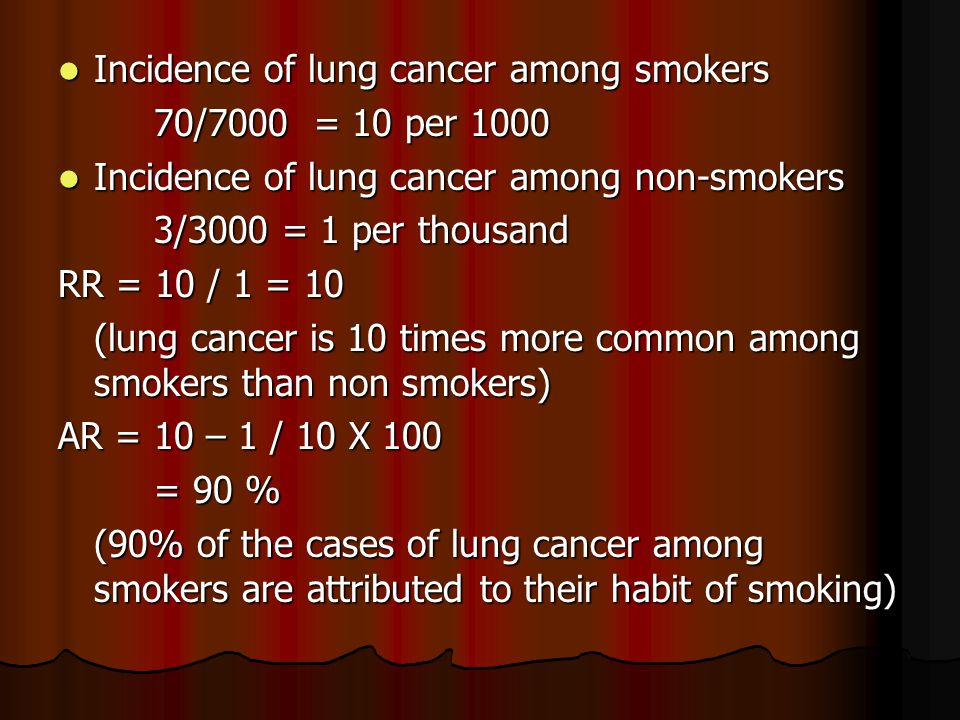 Incidence of lung cancer among smokers Incidence of lung cancer among smokers 70/7000 = 10 per 1000 Incidence of lung cancer among non-smokers Incidence of lung cancer among non-smokers 3/3000 = 1 per thousand RR = 10 / 1 = 10 (lung cancer is 10 times more common among smokers than non smokers) AR = 10 – 1 / 10 X 100 = 90 % (90% of the cases of lung cancer among smokers are attributed to their habit of smoking)