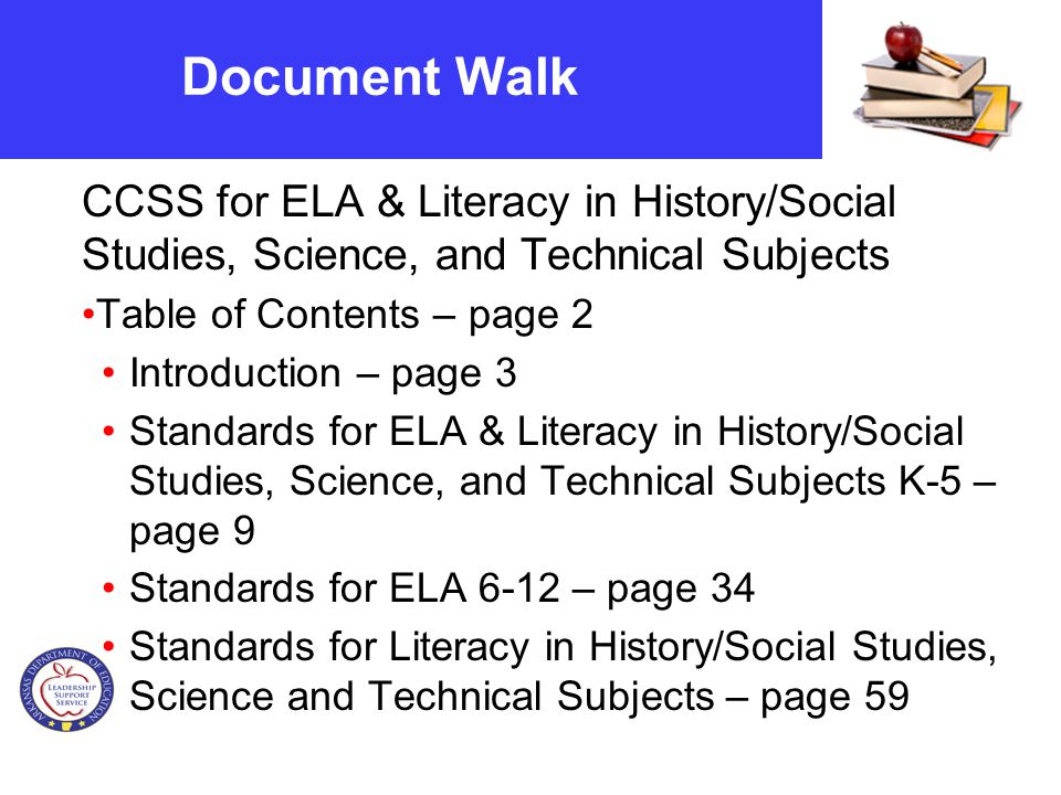 Document Walk CCSS for ELA & Literacy in History/Social Studies, Science, and Technical Subjects Table of Contents – page 2 Introduction – page 3 Standards for ELA & Literacy in History/Social Studies, Science, and Technical Subjects K-5 – page 9 Standards for ELA 6-12 – page 34 Standards for Literacy in History/Social Studies, Science and Technical Subjects – page 59