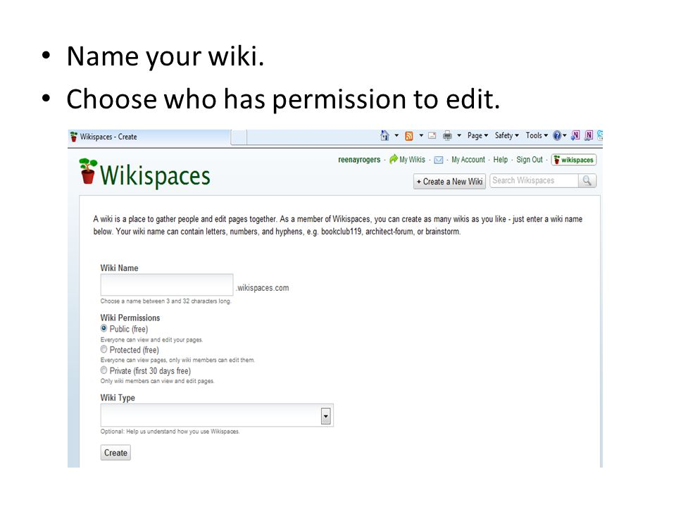Name your wiki. Choose who has permission to edit.