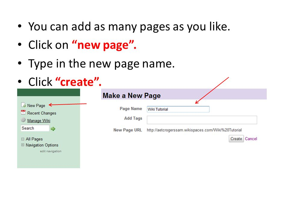 You can add as many pages as you like. Click on new page .