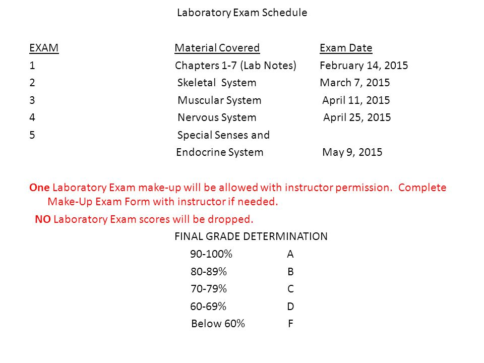 Laboratory Exam Schedule EXAMMaterial CoveredExam Date 1 Chapters 1-7 (Lab Notes)February 14, Skeletal SystemMarch 7, Muscular System April 11, Nervous System April 25, Special Senses and Endocrine System May 9, 2015 One Laboratory Exam make-up will be allowed with instructor permission.