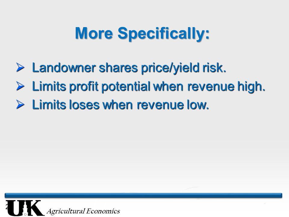 Agricultural Economics 21 More Specifically:  Landowner shares price/yield risk.
