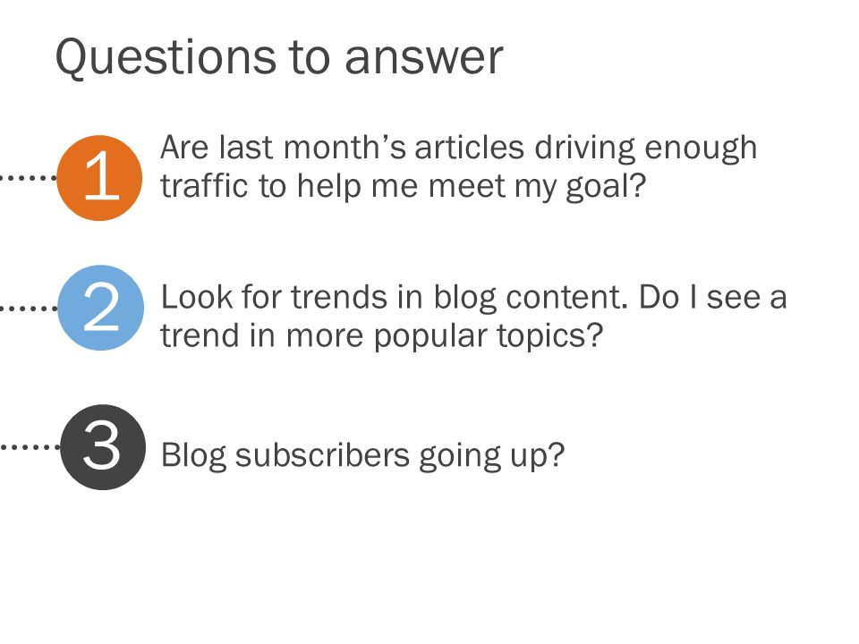 Questions to answer Look for trends in blog content.