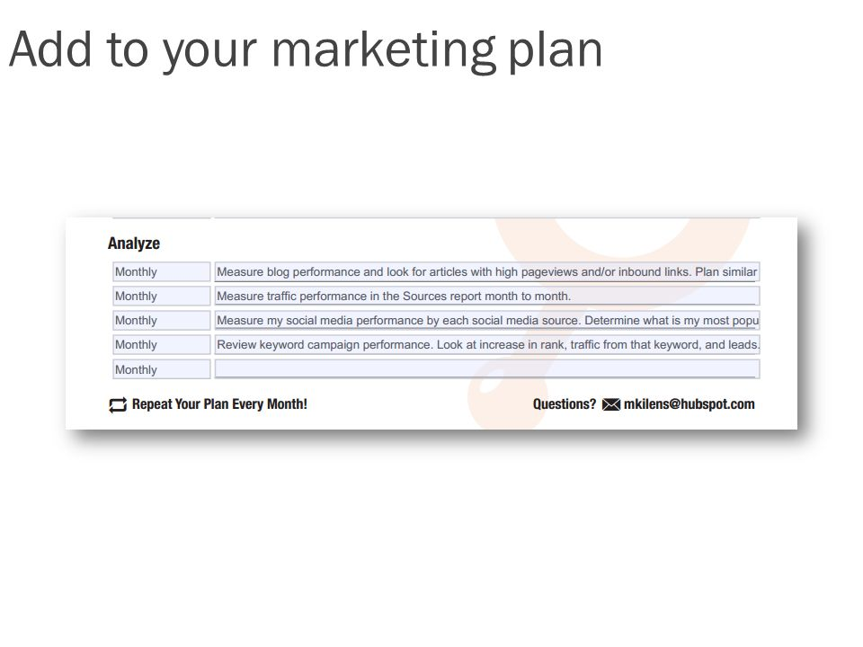 Add to your marketing plan