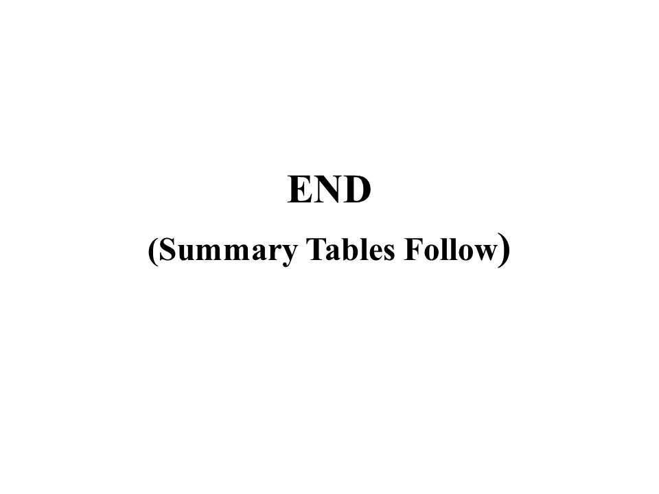 END (Summary Tables Follow )