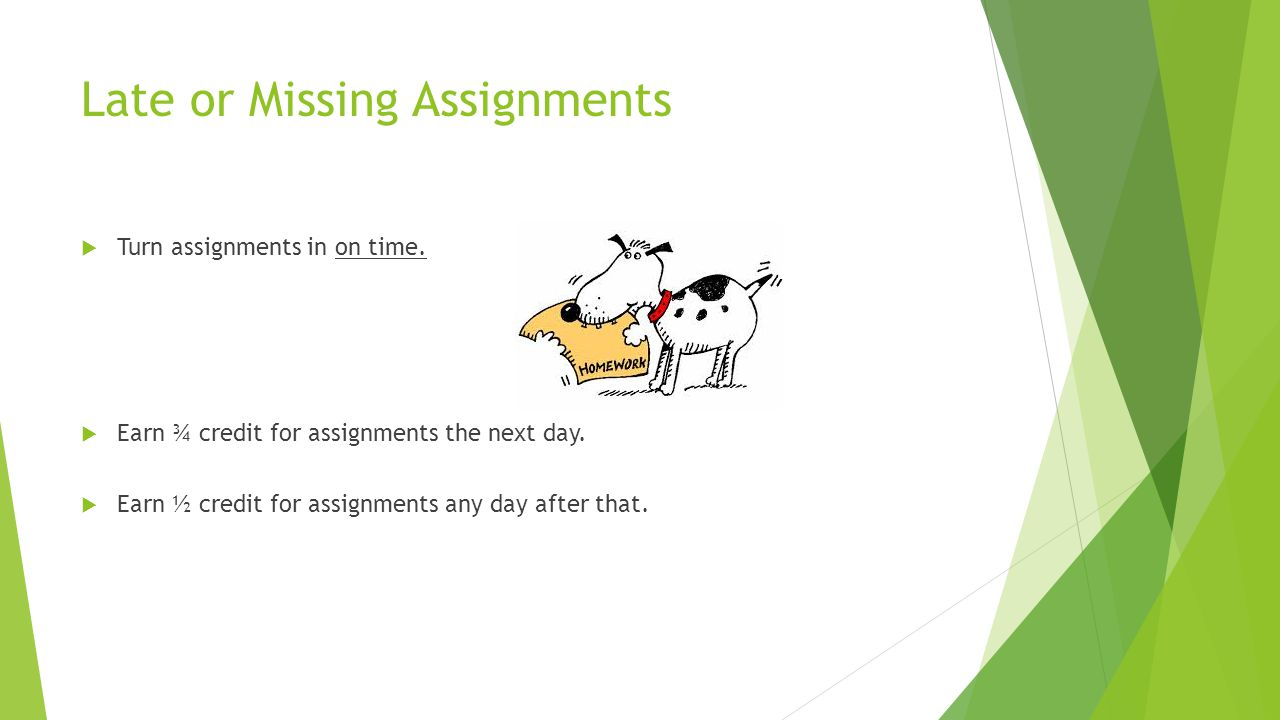 Late or Missing Assignments  Turn assignments in on time.