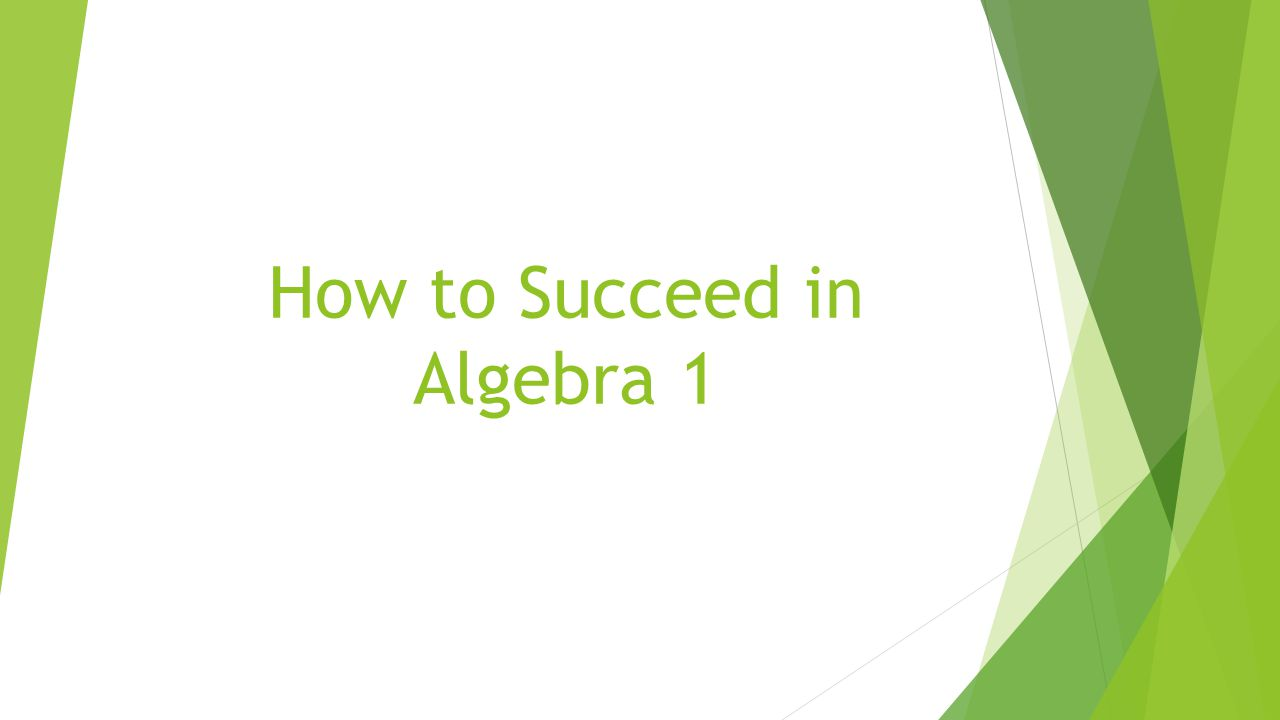 How to Succeed in Algebra 1