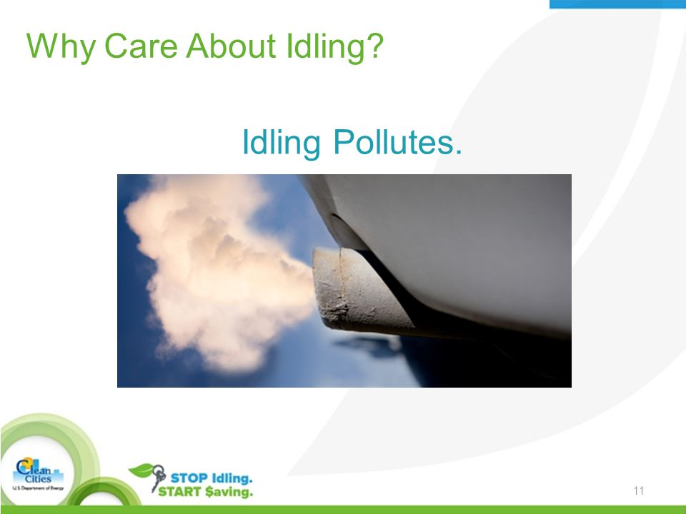 Why Care About Idling Idling Pollutes. 11