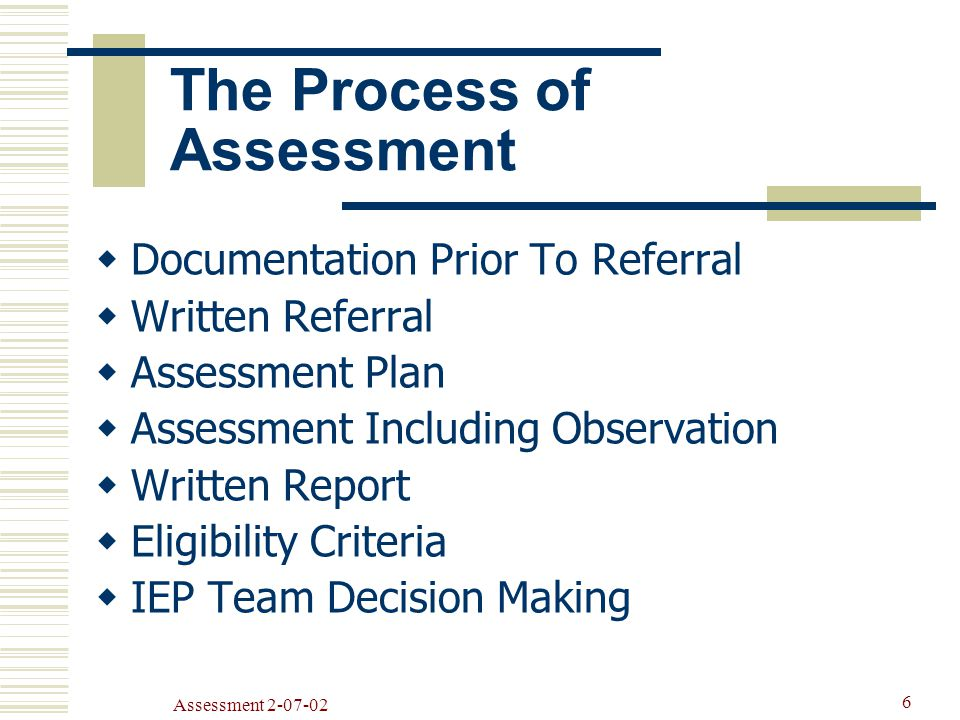 Assessment The Process of Assessment  Documentation Prior To Referral  Written Referral  Assessment Plan  Assessment Including Observation  Written Report  Eligibility Criteria  IEP Team Decision Making