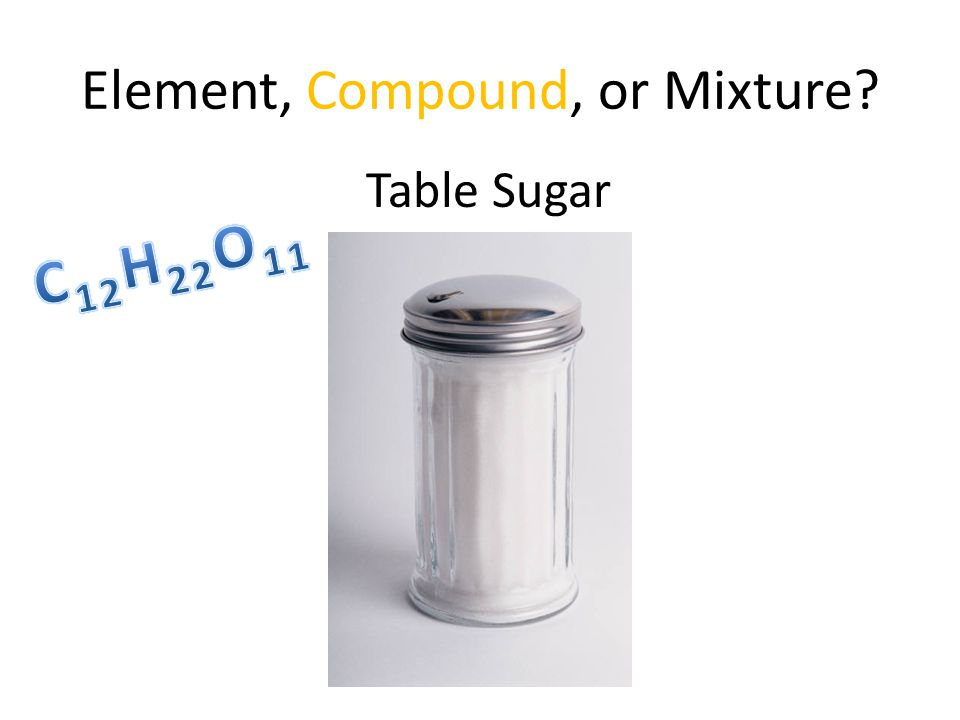 Element, Compound, or Mixture Table Sugar