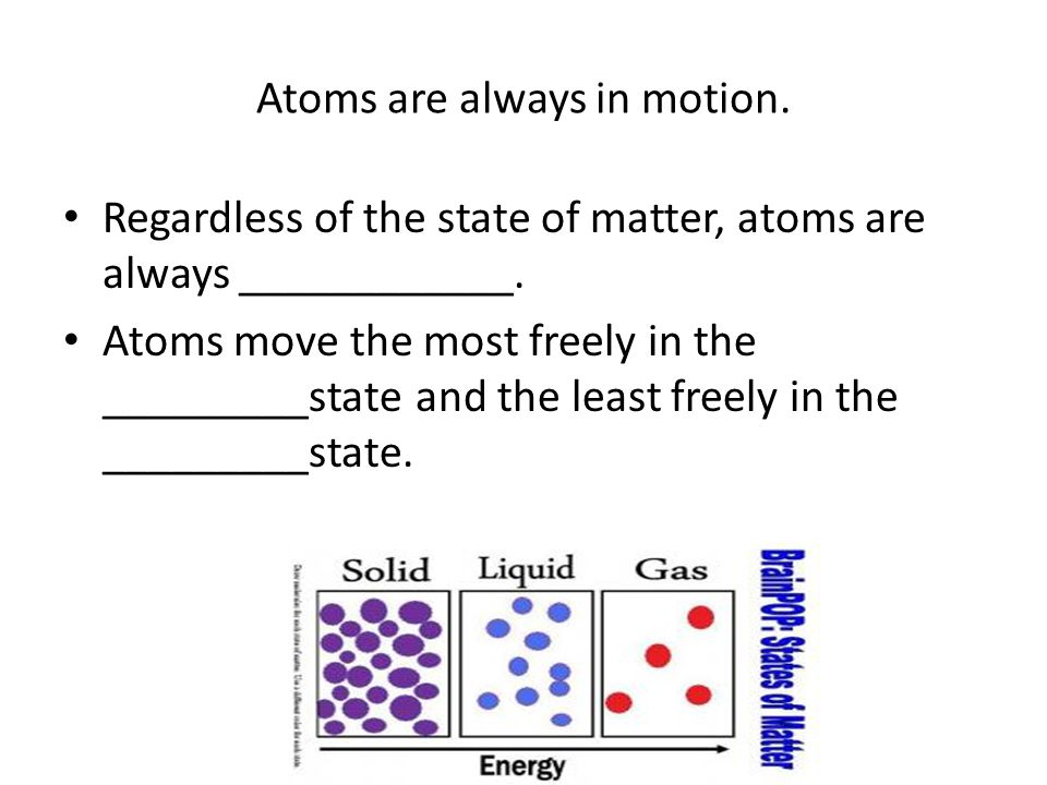 Atoms are always in motion. Regardless of the state of matter, atoms are always ____________.