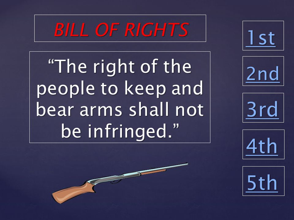 1st 2nd 3rd 4th 5th The right of the people to keep and bear arms shall not be infringed. BILL OF RIGHTS