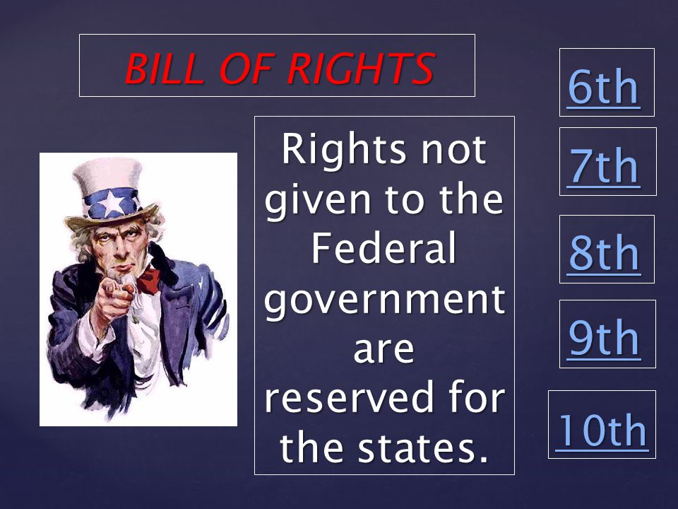 6th 8th 9th 10th Rights not given to the Federal government are reserved for the states.