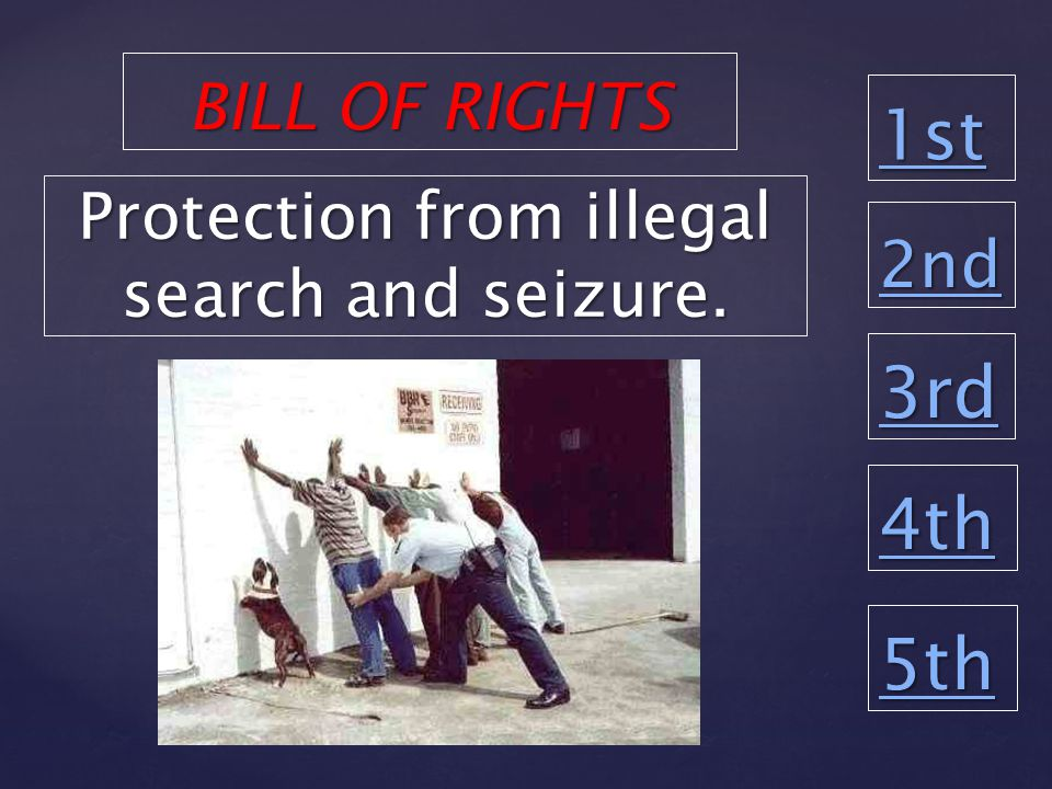 1st 2nd 3rd 4th 5th Protection from illegal search and seizure. BILL OF RIGHTS