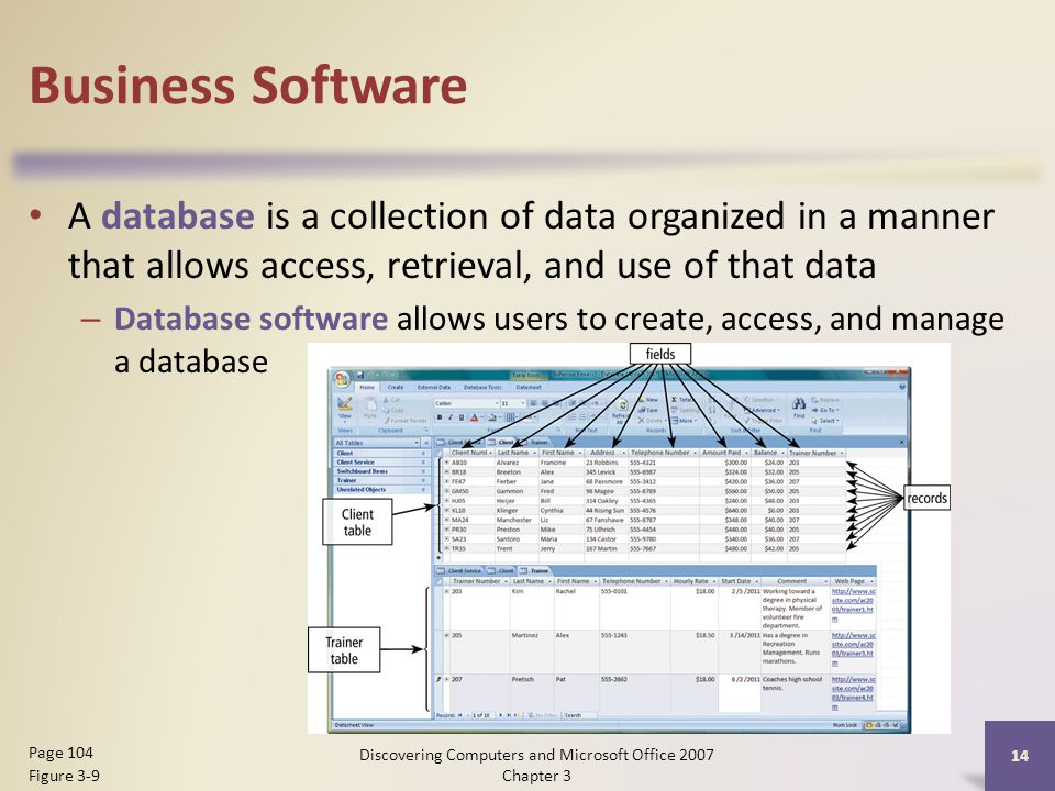 Business Software A database is a collection of data organized in a manner that allows access, retrieval, and use of that data – Database software allows users to create, access, and manage a database 14 Page 104 Figure 3-9 Discovering Computers and Microsoft Office 2007 Chapter 3