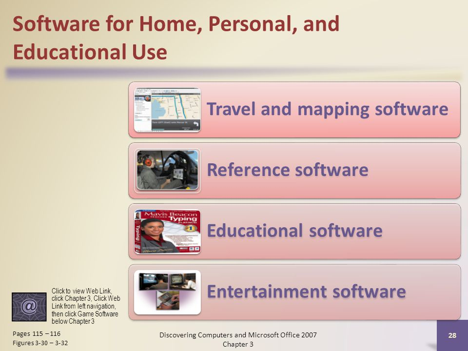 Software for Home, Personal, and Educational Use Travel and mapping software Reference software Educational software Entertainment software 28 Pages 115 – 116 Figures 3-30 – 3-32 Click to view Web Link, click Chapter 3, Click Web Link from left navigation, then click Game Software below Chapter 3 Discovering Computers and Microsoft Office 2007 Chapter 3