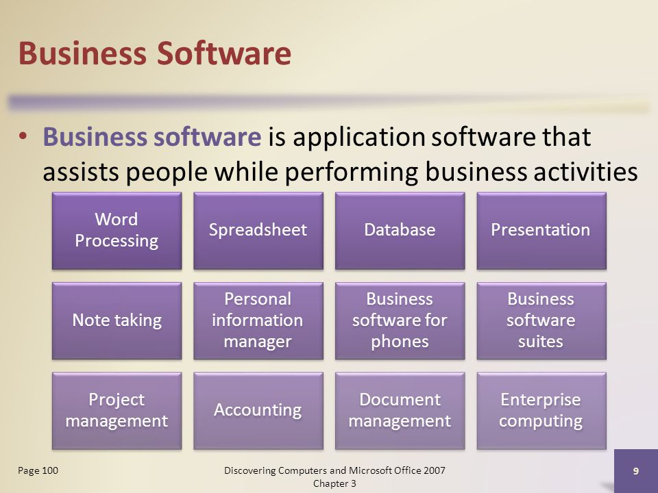 Business Software Business software is application software that assists people while performing business activities 9 Page 100 Word Processing SpreadsheetDatabasePresentation Note taking Personal information manager Business software for phones Business software suites Project management Accounting Document management Enterprise computing Discovering Computers and Microsoft Office 2007 Chapter 3