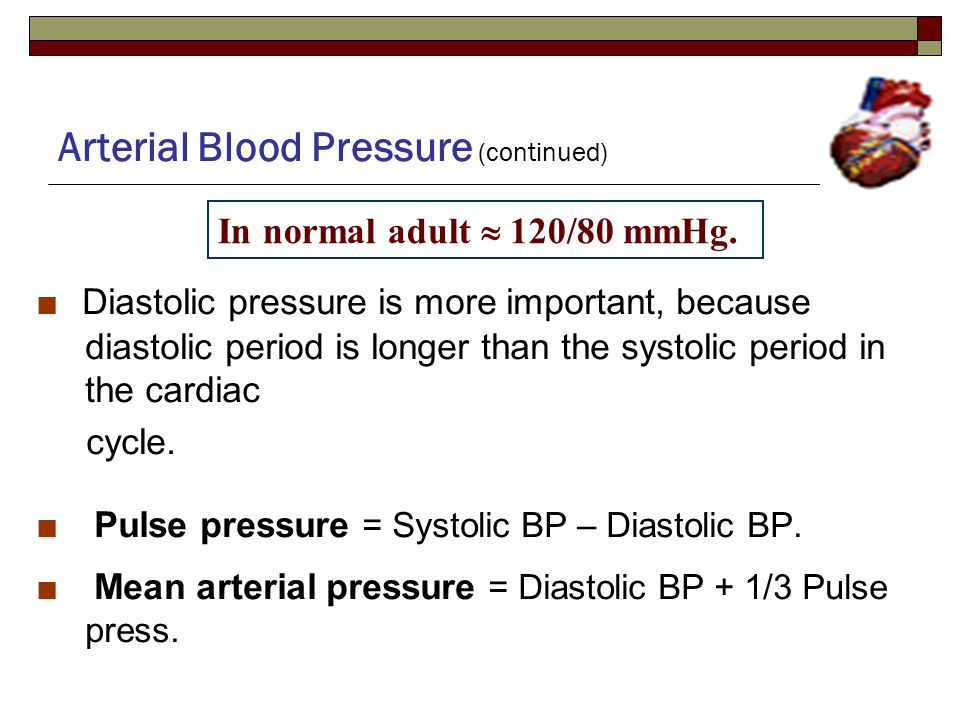 Arterial Blood Pressure (continued) ■ Diastolic pressure is more important, because diastolic period is longer than the systolic period in the cardiac cycle.