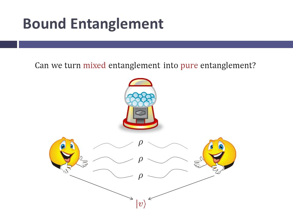 Bound Entanglement Can we turn mixed entanglement into pure entanglement ρ ρ ρ