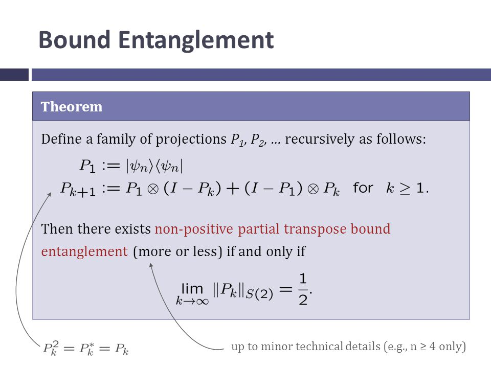 Bound Entanglement Theorem Define a family of projections P 1, P 2, … recursively as follows: Then there exists non-positive partial transpose bound entanglement (more or less) if and only if up to minor technical details (e.g., n ≥ 4 only)