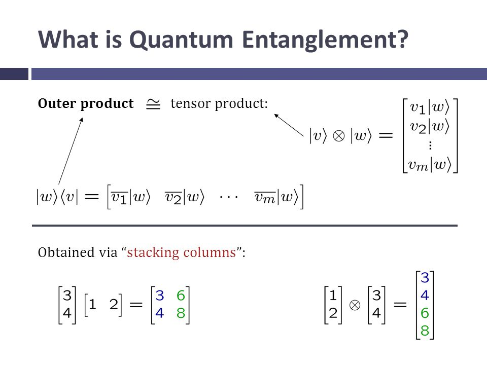 What is Quantum Entanglement Outer product tensor product: Obtained via stacking columns :