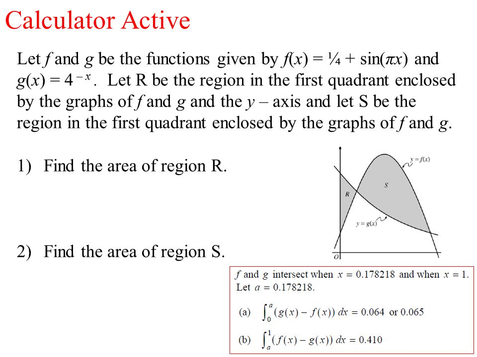 Calculator Active Let f and g be the functions given by f(x) = ¼ + sin(πx) and g(x) = 4 – x.