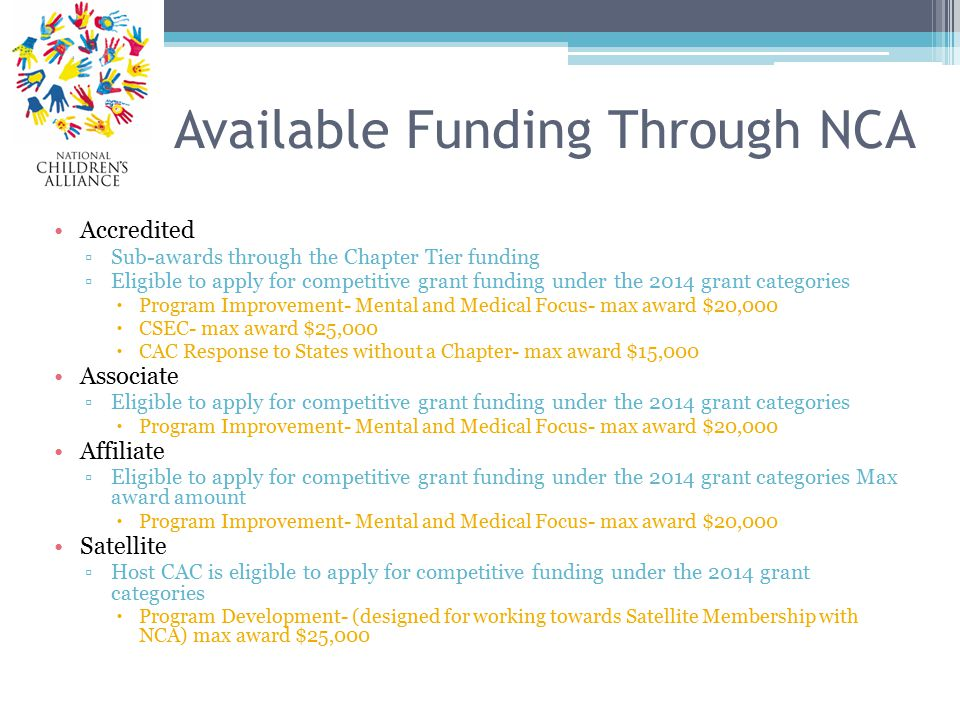 Available Funding Through NCA Accredited ▫Sub-awards through the Chapter Tier funding ▫Eligible to apply for competitive grant funding under the 2014 grant categories  Program Improvement- Mental and Medical Focus- max award $20,000  CSEC- max award $25,000  CAC Response to States without a Chapter- max award $15,000 Associate ▫Eligible to apply for competitive grant funding under the 2014 grant categories  Program Improvement- Mental and Medical Focus- max award $20,000 Affiliate ▫Eligible to apply for competitive grant funding under the 2014 grant categories Max award amount  Program Improvement- Mental and Medical Focus- max award $20,000 Satellite ▫Host CAC is eligible to apply for competitive funding under the 2014 grant categories  Program Development- (designed for working towards Satellite Membership with NCA) max award $25,000
