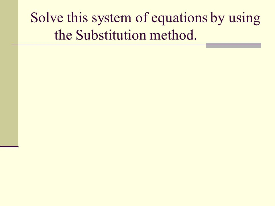 Solve this system of equations by using the Substitution method.
